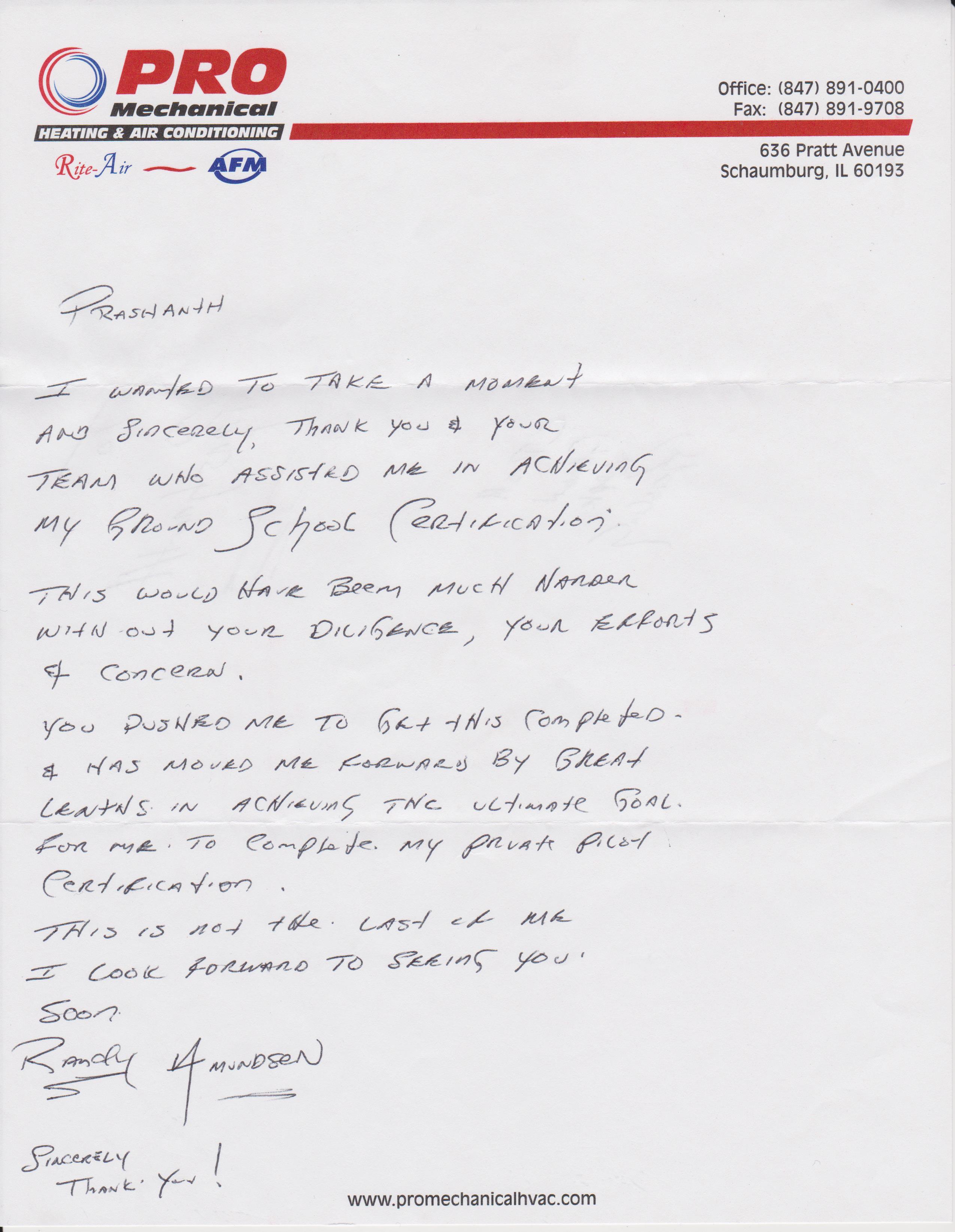 Randy Amundsen letter of appreciation